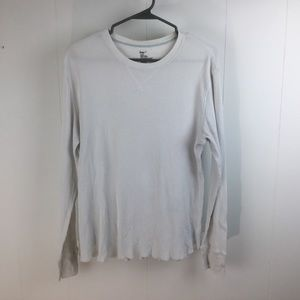 Gap mens long sleeve white thermal waffle T shirt
